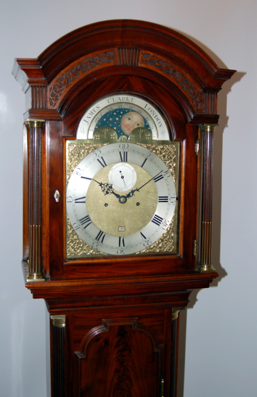 Moon-Phase antique grandfather clock by James Clarke of London
