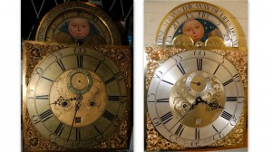 Garnet grandfather clock dial after cleaning