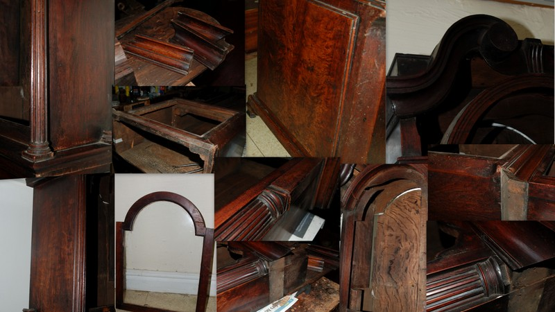 antique cabinet being repaired before restoration