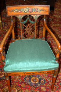 Lovely delicate armchair  with fine designs in manner of celebrated artist Pergolesi