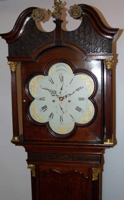 Lovely intriucate shaped hood door on Brown clock