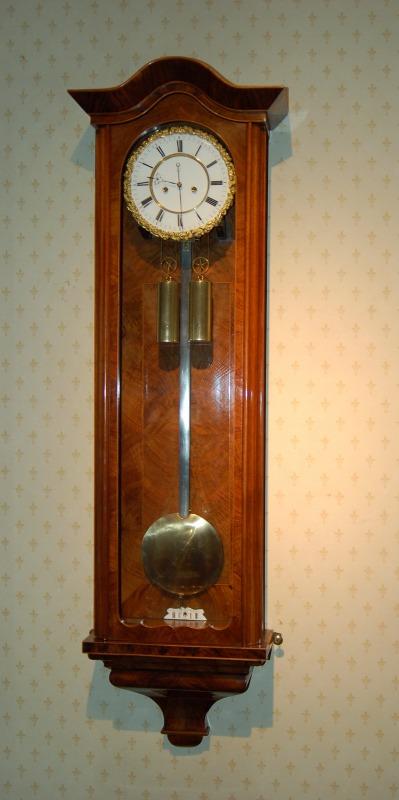 Stunning walnut veneered Vienna wall clock