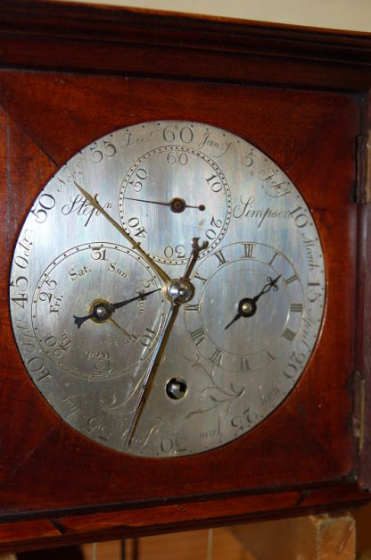 Rare engraved silvered dial with year calendar